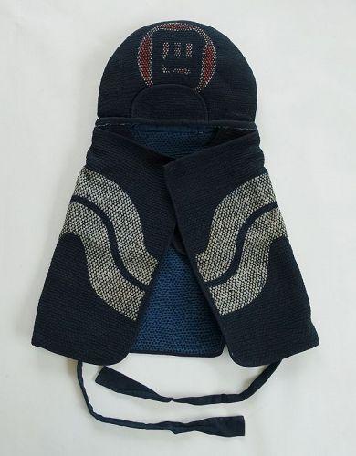 Japanese Antique Textile Fireman's Hood with Hand-stitched Sashiko