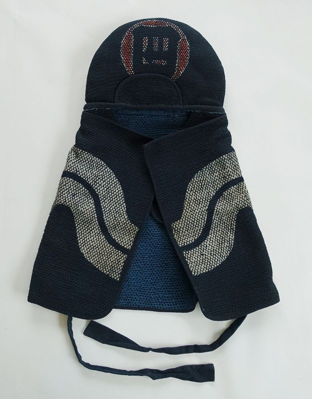 Japanese Antique Textile Fireman's Hood with Hand-stitched Sashiko