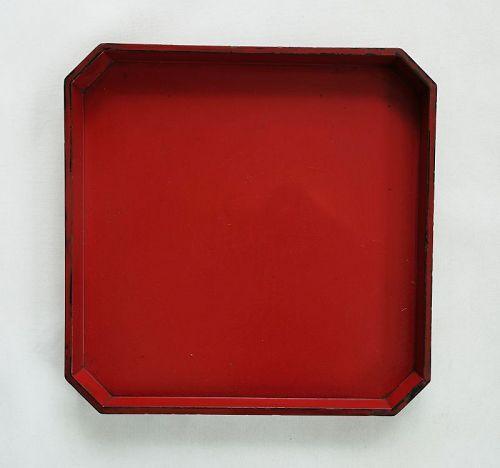 Japanese Antique Wood Sumikiri-bon with Red Urush-1