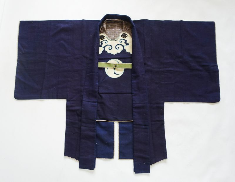 Japanese Antique Textile Edo Kaji-haori of Samurai Made of Wool