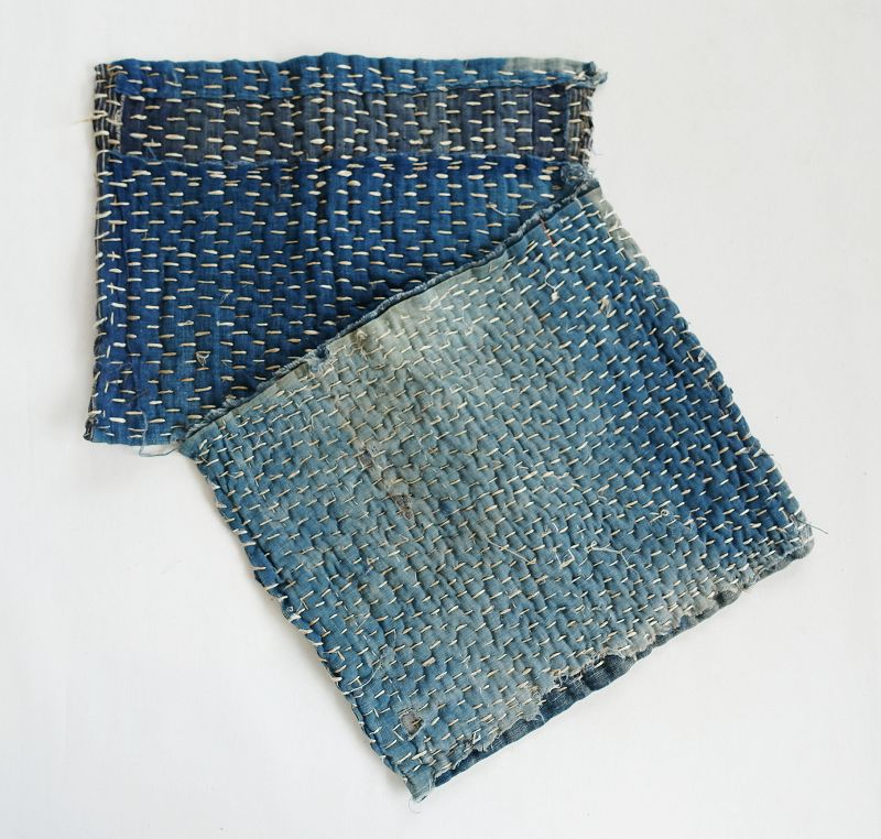 Japanese Vintage Textile Two Pieces of Zokin with Sashiko