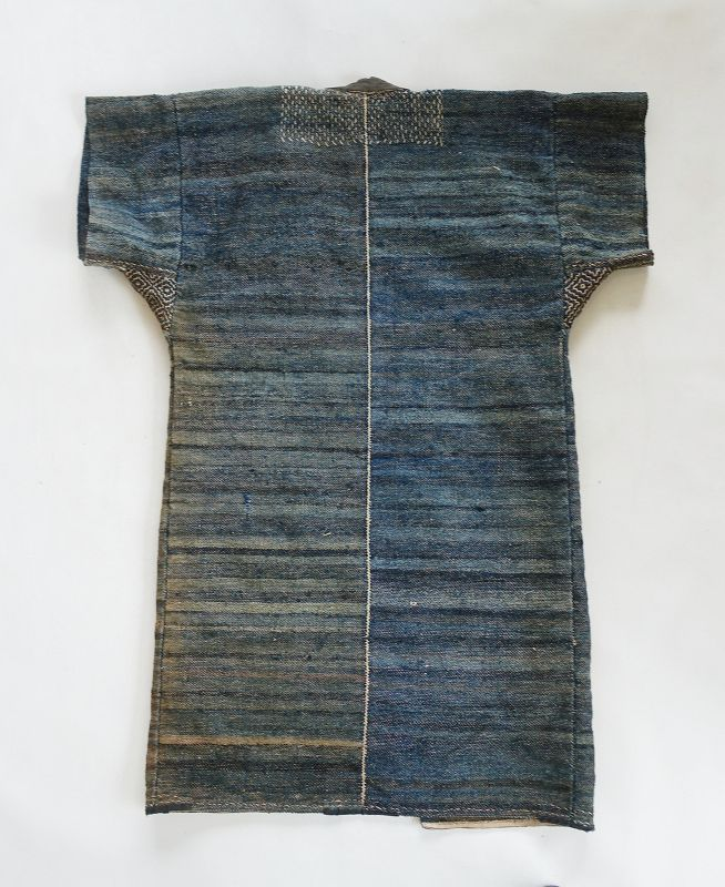 Japanese Vintage Textile Sakiori Coat Recycled from Indigo Cloth