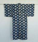 Japanese Vintage Textile Cotton Kimono with Katazome and Shibori