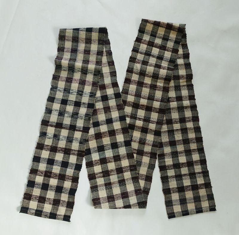 Japanese Vintage Textile Sakiori Obi Sashi for a Casulal Kimono Check