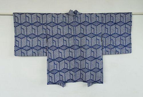 Japanese Vintage Textile Silk Haori Jacket with Kanoko Shibori