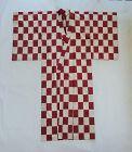 Japanese Vintage Textile Silk Meisen Kimono Checker Board Pattern