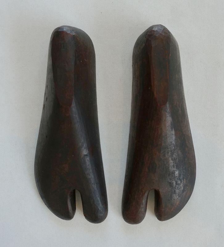 Japanese Vintage Pair of Wood Pattern for Tabi Socks