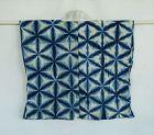 Japanese Vintage Textile Cotton Itajime-Shibori Han-Juban Indigo Dye