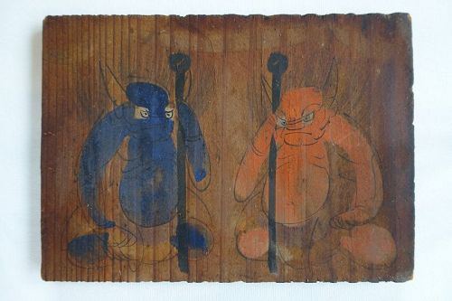 Japanese Vintage Wood Ema with Red and Blue Ogre