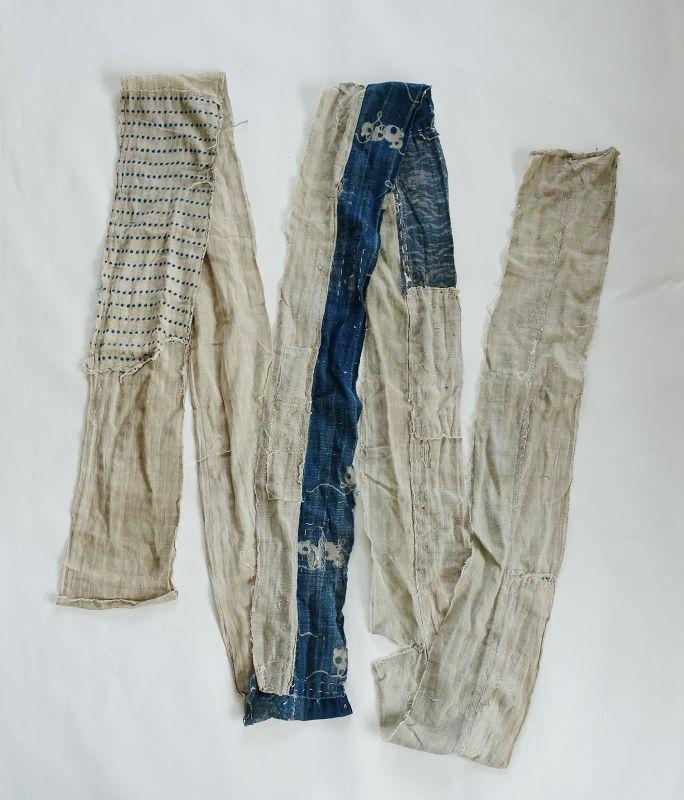 Japanese Antique Textile Boro Obi Lining Hand-spun Cotton