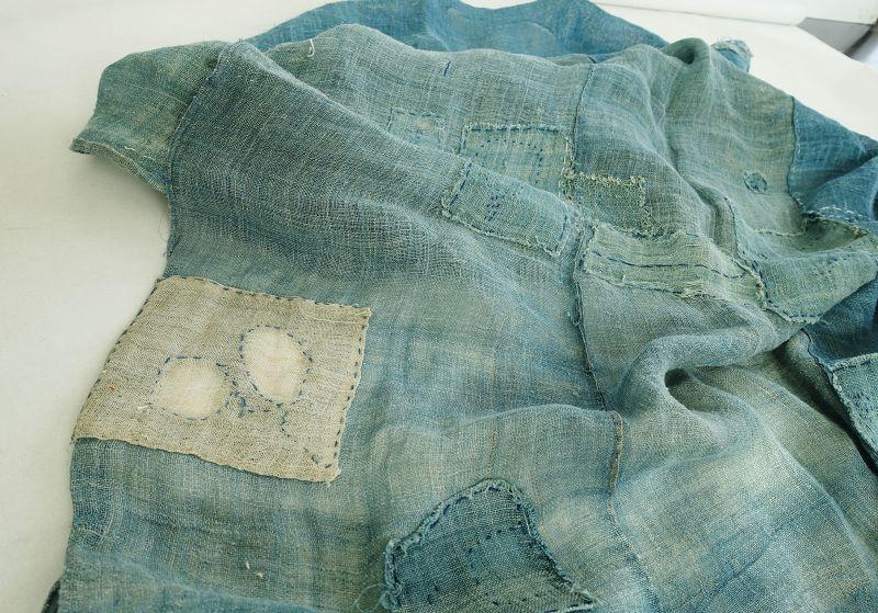 Japanese Antique Textile Boro Asa Indigo Kaya Cloth Hemp