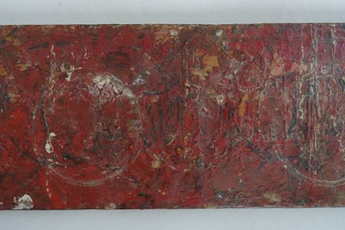 Japanese Vintage Wooden Board Used by Nushi Lacquer-Ware Artisan