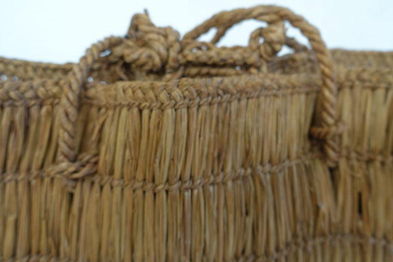 Japanese Vintage Folk Craft Mingei Bag Made of Weed
