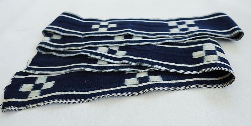 Japanese Vintage Textile Okinawan Minsa Obi Sash with Kasuri
