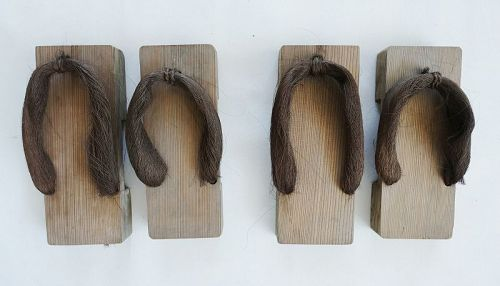 Japanese Antique Two Pairs of Geta Wood Clogs for Garden Meiji