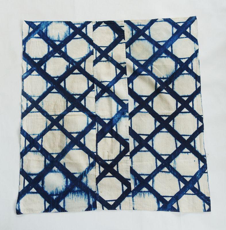 Japanese Antique Textile Cotton Furoshiki with Itajime Shibori