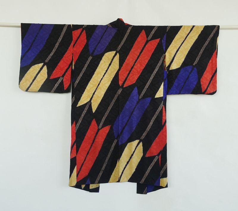 Jappanese Vintage Textile Silk Haori with Shibori Feather Design