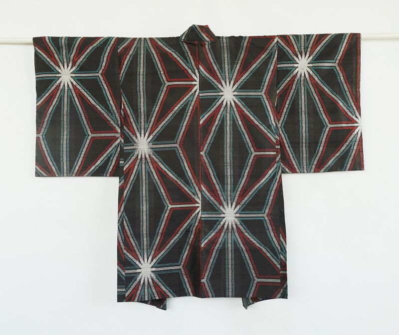 Japanese Vintage Textile Silk  Haori with Asa-no-ha Pattern
