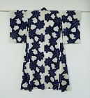 Japanese Vintage Textile Cotton Kimono with Shibori Maple Leaf