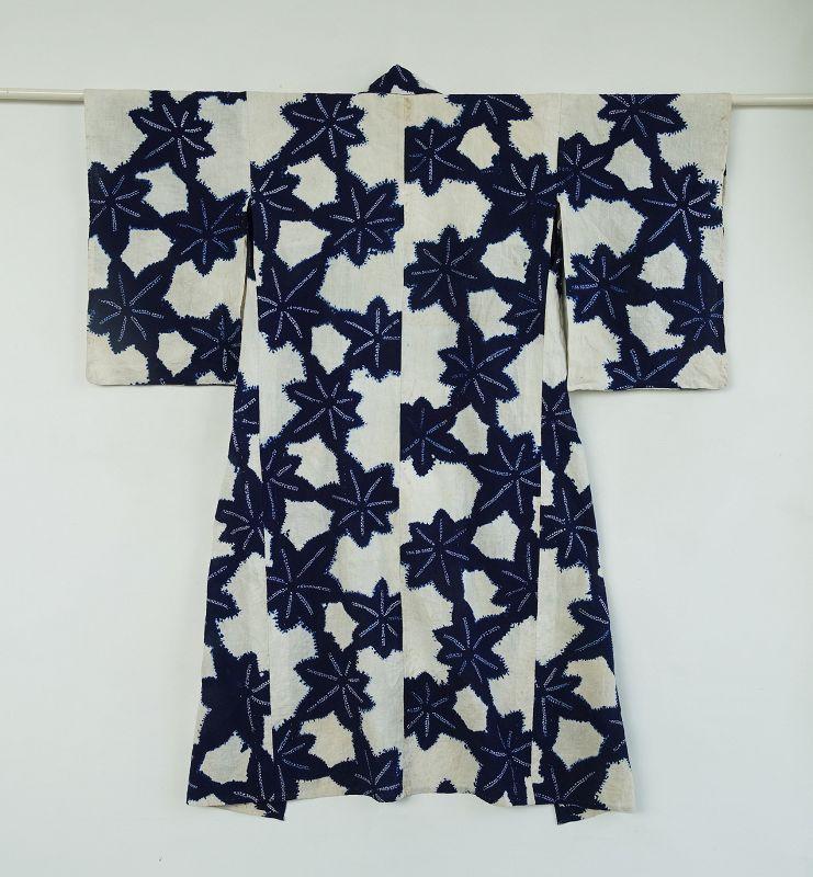 Japanese Vintage Textile Cotton Kimono with Shibori Maple Leaf