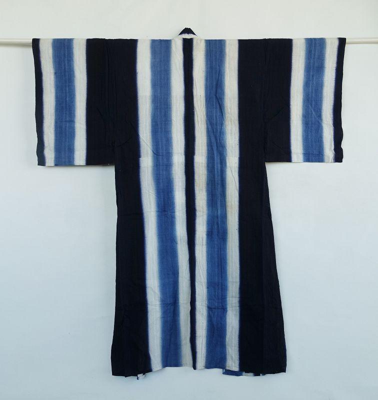 Japanese Vintage Textile Cotton Man's Kimono with Bold Stripe Indigo