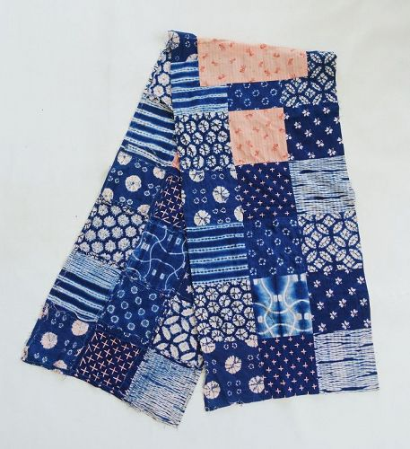 Japanese Contemporary Textile Patchwork with Many Kinds of Shibori