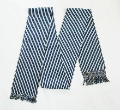 Japanese Vintage Textile Shonai-Obi Woven of Cotton and Washi Yarn