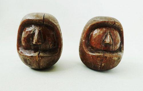 Japanese Vintage Folk Craft Two Wood Mold  for Daruma