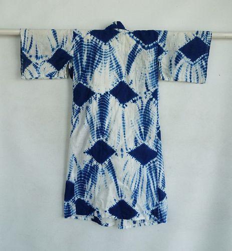 Japanese Vintage Textile Baby's Cotton Kimono with Shibori