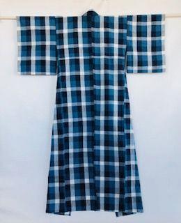 Japanese Vintage Textile Cotton Unlined Kimono Indigo Check Pattern