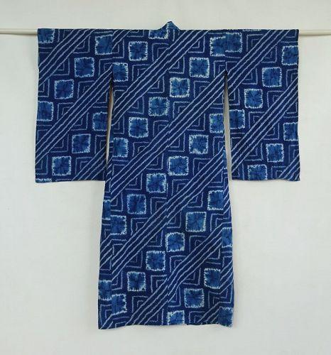 Japanese Vintage Textile Cotton Girl's Kimono with Shibori Pattern
