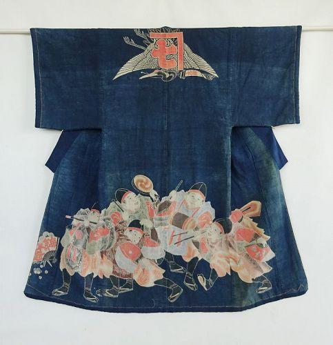 Japanese Antique Textile Cotton Maiwai with Gonin-dachi Kashima Odori