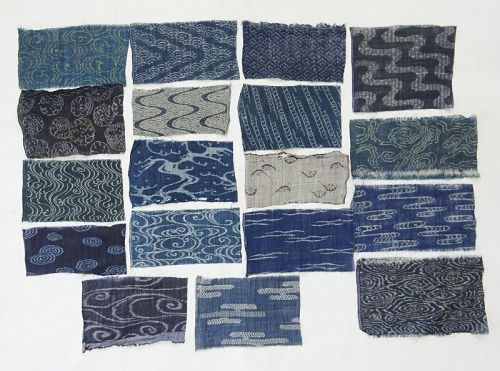 Japanese Antique Textile Fragments of Ojiya-Chijimi with Wave & Stream