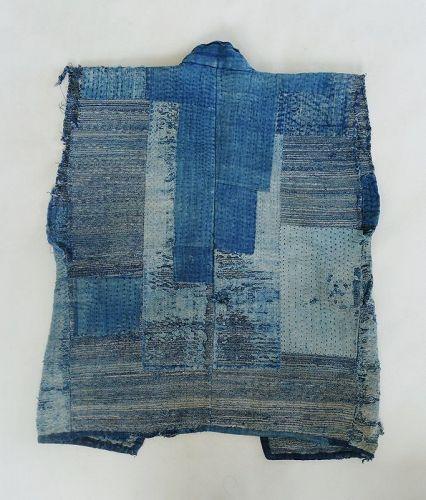 Japanese Antique Textile Boro Sakori Sodenashi Vest from Sado