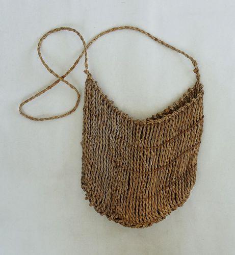 Japanese Vintage Folk Craft Mingei Bag Handmade of Weed
