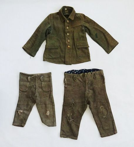 Japanese Vintage Textile Boro Student's Woolen Clothing in War Time
