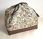 Japanese Vintage Bamboo Basket Bag With Silk Cloth