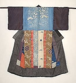 Japanese Antique Textile Hagi-isho Juban Kimono Edo