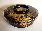 Japanese Antique Wooden Urushi  Bowl With A Lid