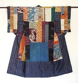 Japanese Antique Textile Silk Hagi-isho Long Juban
