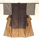 Japanese Vintage Textile Pongee Silk Man's Juban