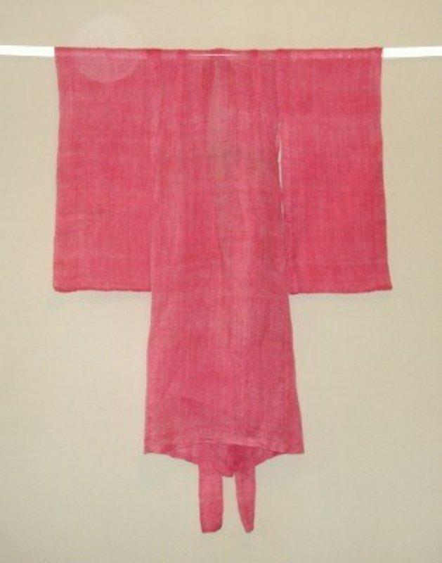 Japanese Antique Textile Asa Girl's Kimono Benibana