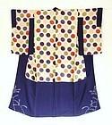 Japanese Vintage Textile Silk Crepe Formal Kimono-2
