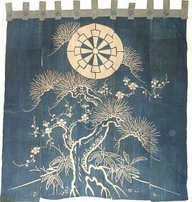 Japanese Antique Textile Asa & Cotton Tsutsugaki Noren