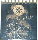 Japanese Antique Textile Asa & Cotton Tsutsugaki Noren