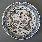 Chinese Porcelain Blue and White Dragon Plate