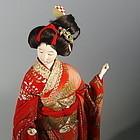 Antique Geisha Doll Hair Ornaments Geta Red Kimono