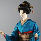 Very Rare Japanese Geisha Doll in Turquoise Kimono