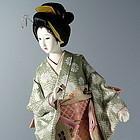 Japanese Geisha Doll Soft Brocade Kimono Gofun Face