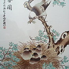 Chinese Qianjiang Painting on Porcelain Plaque of Birds